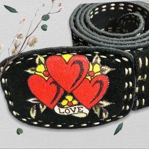 "Ed Hardy Retro Y2K style ""love"" belt size 36"""